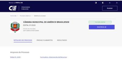 PROCESSO SELETIVO PARA ESTÁGIO NA CÂMARA MUNICIPAL DE AMÉRICO BRASILIENSE